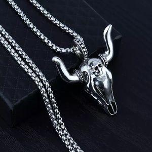 Bull Head Skull Stainless Steel Necklace